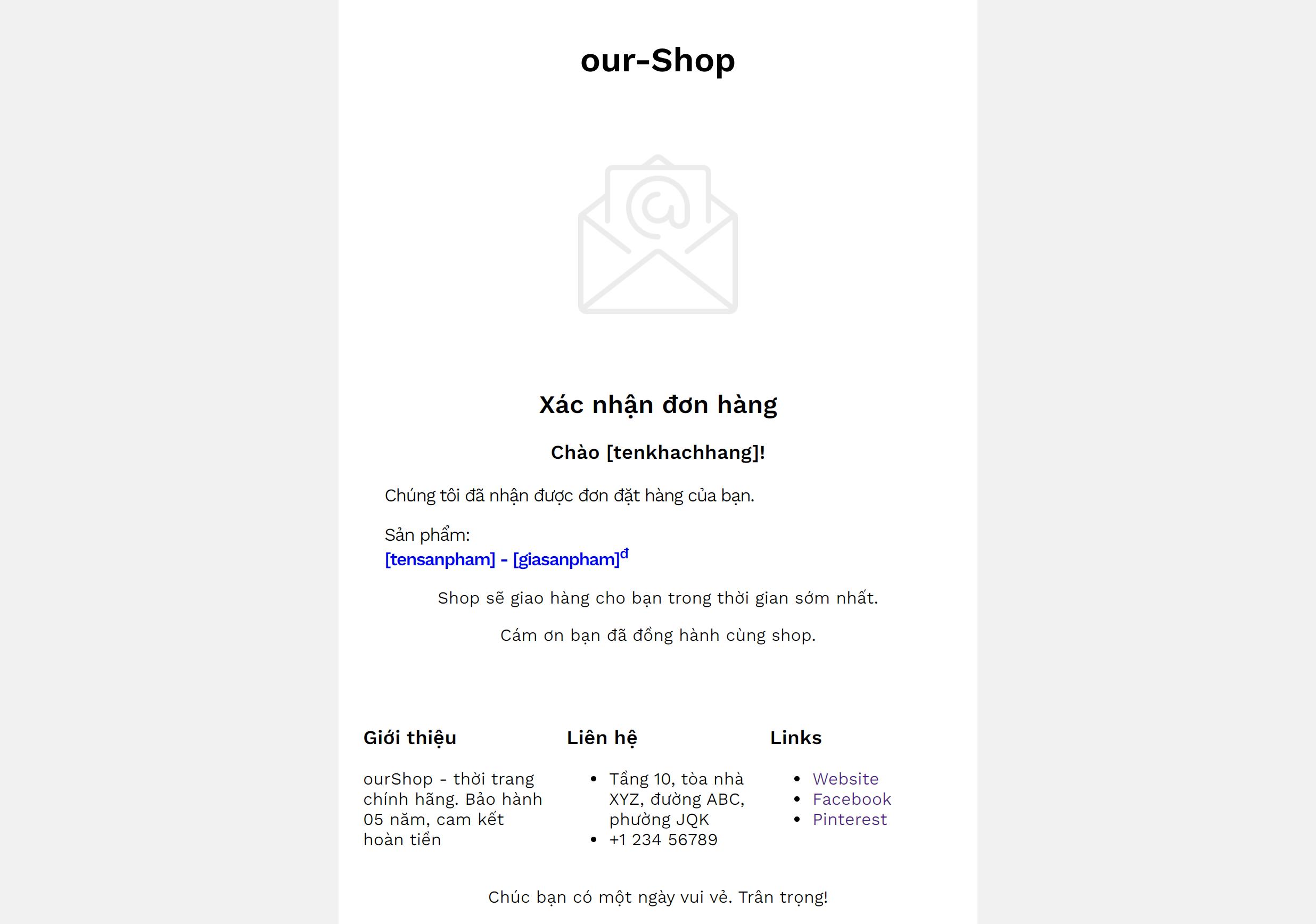 Ví dụ một mẫu email marketing đẹp